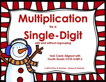 Winter Task Cards - Multiplication by a Single-Digit without and with Regrouping
