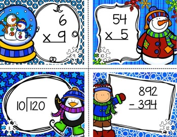 Winter Task Cards for 3rd Grade Math