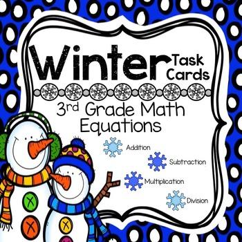 Winter Task Cards for 3rd Grade Math