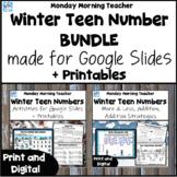 Winter Teen Number Activities BUNDLE Printables Digital Di
