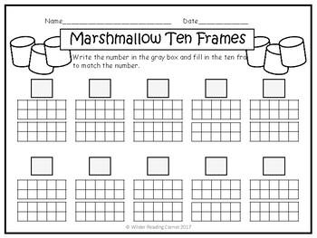 Winter Teen Number Math Center- Marshmallow Ten Frames