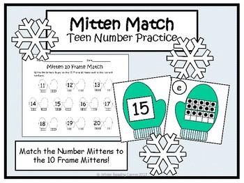 Winter Teen Number Math Center- Mitten 10 Frame Match