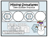 Winter Teen Number Practice {Missing Snowflake} Math Center