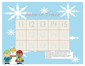 Winter Teen Number Race to Trace and Write the Room