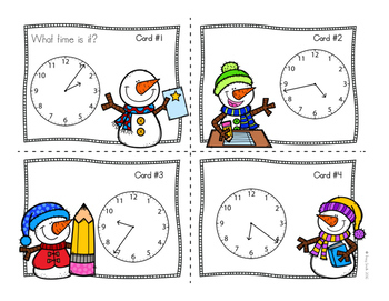 Winter Telling Time SCOOT - Time to the Minute and Time to 5 Minutes - 2 Games