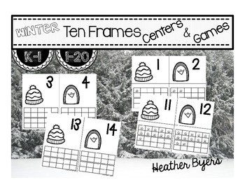 Winter Ten Frame Centers and Games (Ink Saving Center)