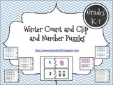 Winter Ten Frame Count and Clip and Number Puzzles