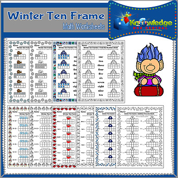 Winter Ten Frame Math Worksheets by Knowledge Box Central | TpT