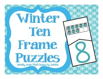 Winter Ten Frame Self-Checking Puzzles