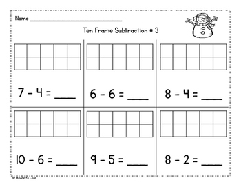 Winter Ten Frames Addition and Subtraction