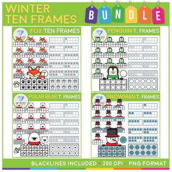 Winter Ten Frames Clip Art BUNDLE! - 186 Images!