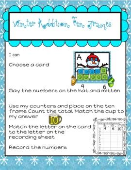 Winter Ten Frames Math Center