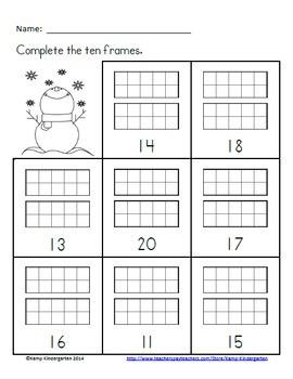 Winter Ten Frames No-Prep Printables (Quantities of 11-20 ...