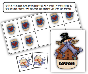 Winter Ten-Frames and Number Word Cards