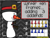 Winter Ten Frames...Adding  3  Addends