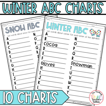 Winter Thematic ABC Charts - Christmas, Snow, Penguins, MLK, and More!