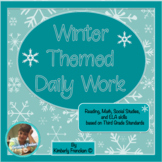 Winter Themed Daily Work for 3rd Grade: ELA, Math, Geography