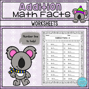 Winter Addition Math Facts Sheets: Doubles, Doubles +1, Making Tens