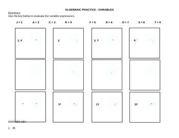 Winter Theme Algebraic Practice - Variables