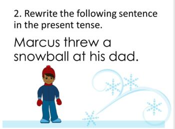 Winter Theme Change the Verb Tense Warm Ups and Task Cards