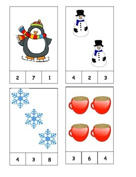 Winter Theme Count and Clip Cards! #1-19