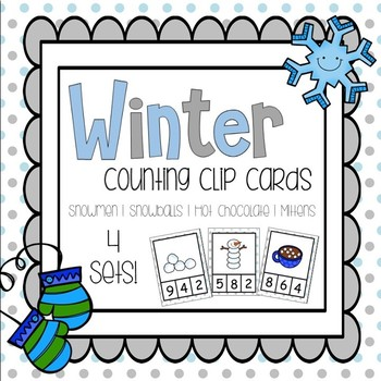 Winter Theme Counting Clip Cards (Numbers 0 - 10) - 4 Sets!