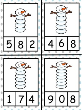 Winter Theme Counting Clip Cards Numbers 0 - 10 (Mittens, Snowmen, and More!)