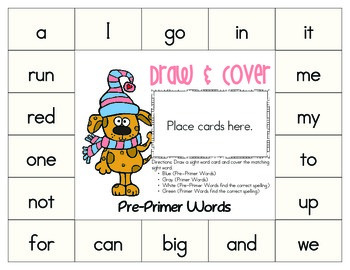 Winter Theme: Draw & Cover Sight Words (PreK to 2nd Printable)