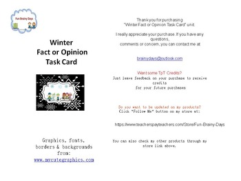 Winter Theme Fact or Opinion Task Cards