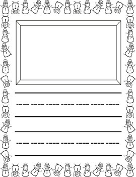 Winter Theme / L'hiver ~ Primary Illustrated Writing Pages ~ Snowmen