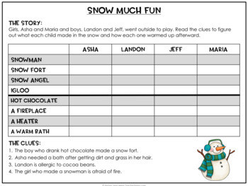Winter Theme Logic Puzzles