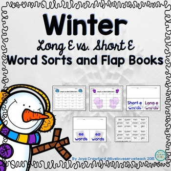 Winter Theme Long E Vs. Short E Word Sorts and Flap Books