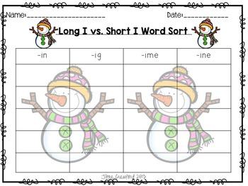 Winter Theme Long I Vs. Short I Word Sorts and Flap Books