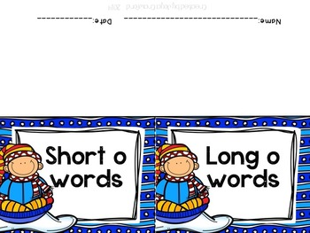 Winter Theme Long O Vs. Short O Word Sorts and Flap Books