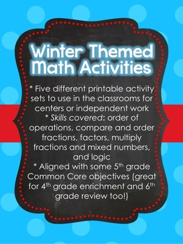 Winter Theme Math Center Activities for Upper Elementary (