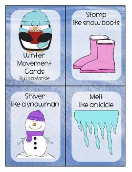 Winter Theme Movement Cards for Preschool and Brain Break