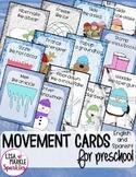 Winter Movement Cards for Preschool and Brain Break