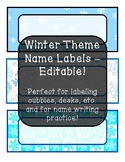 Winter Theme Name Labels - Editable!