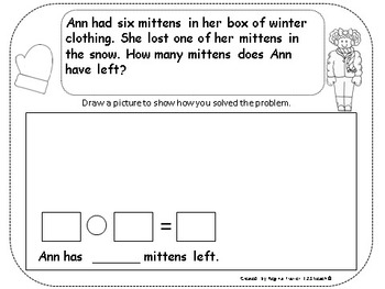 Winter Theme Number Stories/ Word Problems K.OA.2 & 1.OA.1