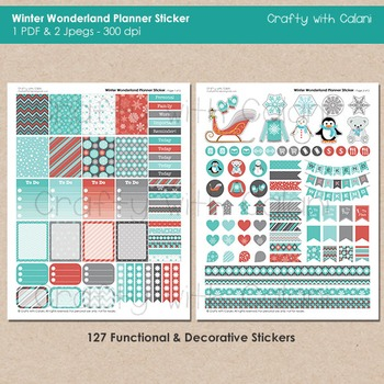 Winter Theme Planner Sticker, 127 Functional and Decorative Printable Sticker