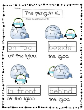 Winter Theme Penquin Positional Words Activity Sheets