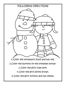 winter theme pre k following directions worksheets by kim sutherland. Black Bedroom Furniture Sets. Home Design Ideas