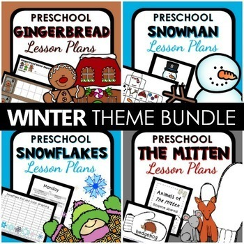 Winter Theme Preschool Lesson Plan and Winter Activities BUNDLE