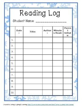 Winter Theme Reading Log