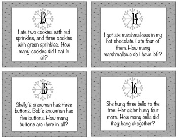 Winter Theme SINGLE DIGIT Addition & Subtraction word problems TASK CARDS