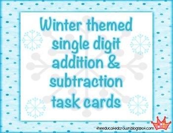 Winter Theme SINGLE DIGIT Addition & Subtraction word prob