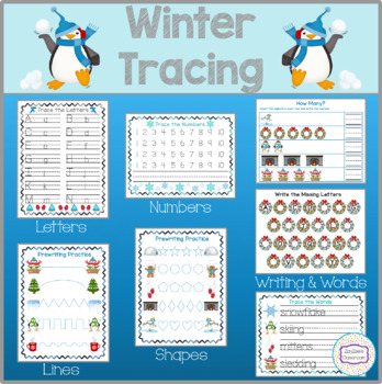 Winter Theme Tracing, Pre-Writing, Writing Practice