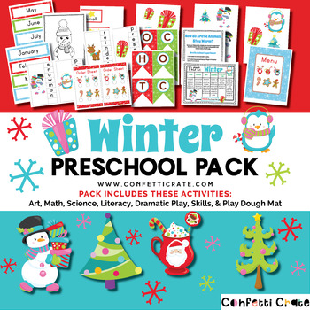 Winter Activities Preschool (color and black & white version)