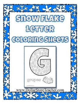 Winter Theme Writing Center Snow Flake Letter Coloring Pag