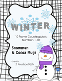 Winter Snowmen and Cocoa Mugs 10 Frame Counting Mats (1-10)